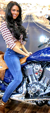 girl with indian motorbike